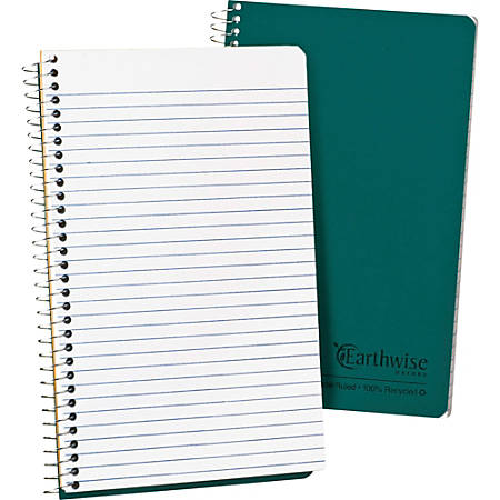 "Ampad Oxford Narrow Rule Recycled Wirebound Notebook - 80 Sheets - Wire Bound - 5"" x 8"" - White Paper - Green Cover - Kraft Cover - Micro Perforated, Easy Tear, Snag Resistant, WireLock, Subject, Hard Cover, Rigid - Recycled - 1Each"