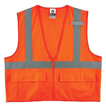 Ergodyne GloWear Safety Vest, Standard Solid, Type-R Class 2, 4X/5X, Orange, 8225Z
