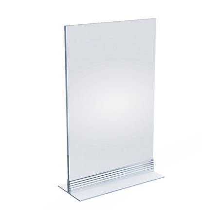 """Azar Displays Acrylic T-Strip Vertical/Horizontal Sign Holders, 11"""" x 7"""", Clear, Pack Of 10 Sign Holders"""