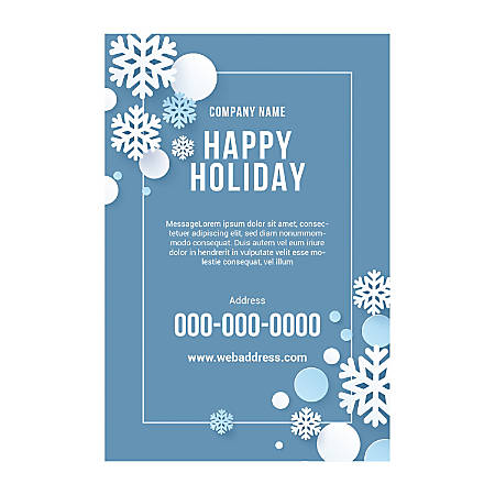 Adhesive Sign Template, Vertical, Snow Border