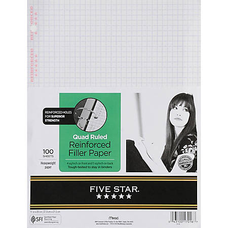 "Five Star® Reinforced Filler Paper, 8 1/2"" x 11"", Quadrille Ruled, Pack Of 100 Sheets"