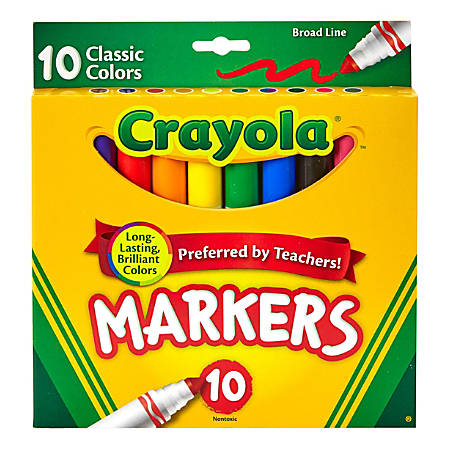 Crayola® Broad Line Markers, Assorted Classic Colors, Box Of 10