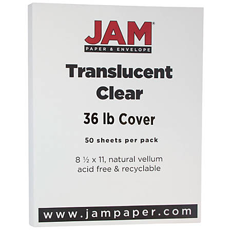"""JAM Paper® Cover Card Stock, 8 1/2"""" x 11"""", 36 Lb, Translucent Clear, Pack Of 50 Sheets"""