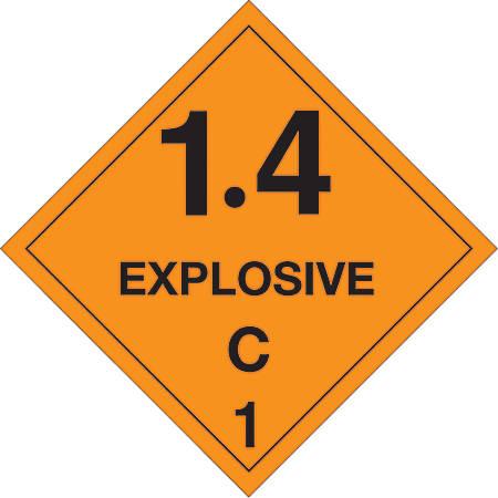 "Tape Logic® Preprinted Shipping Labels, DL5031, Explosive — 1.4C — 1, Square, 4"" x 4"", Orange/Black, Roll Of 500"