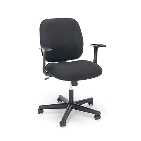 OFM Essentials Swivel Fabric Task Chair, Mid-Back, Black/Silver