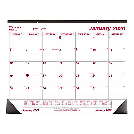 Calendar December 2020.Brownline Monthly Desk Pad Calendar 22 X 17 January To December 2020 Item 7642708