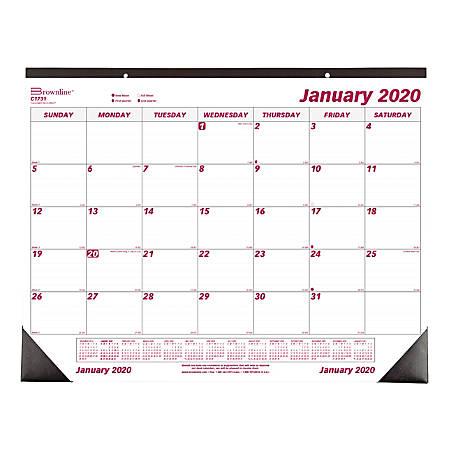 "Brownline® Monthly Desk Pad Calendar, 22"" x 17"", January to December 2020"