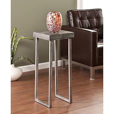 Southern Enterprises Nolan Pedestal Accent Table, Square, Burnt Oak/Silver
