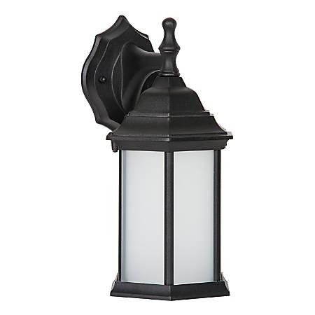 Luminance LED Porch Lantern Wall Mount Fixture, 9 Watts, 3000K/Warm White, 830 Lumen, Black/Frosted Glass, F9955-31