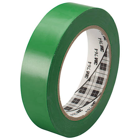 "3M™ 764 Vinyl Tape, 3"" Core, 1"" x 36 Yd., Green, Case Of 6"
