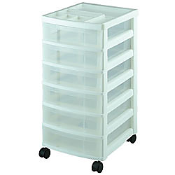 Iris 6 Drawer Mini Storage Cart White Clear Plastic