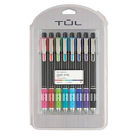 TUL® Limited Edition Brights Retractable Gel Pens, Medium Point, 0.7 mm, Assorted Barrel Colors, Assorted Ink Colors, Pack Of 8