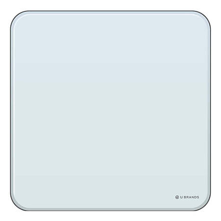 """U Brands Magnetic Cubicle Dry-Erase Board, Glass, 12"""" x 12"""", White Frosted"""