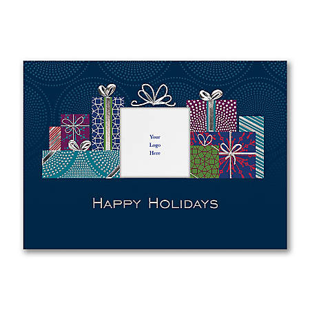 """Custom Embellished Holiday Cards And Foil Envelopes, 7-7/8"""" x 5-5/8"""", Happy Holiday Packages, Box Of 25 Cards"""