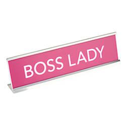 office depot brand boss lady desktop nameplate pinksilver by office