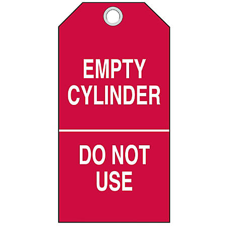 """Brady Cylinder Status Tags, Cylinder Empty/In Use/Full, Vinyl, 6 1/2""""H x 6""""W, White/Red, Pack Of 10"""