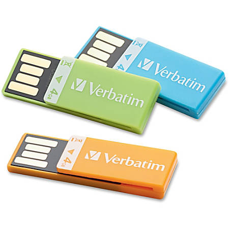 Clip-It 4GB USB 2.0 Drives, Pack Of 3
