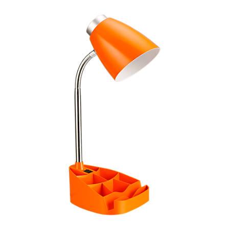 "LimeLights Gooseneck Organizer Desk Lamp, 17 1/4""H, Orange Shade/Orange Base"