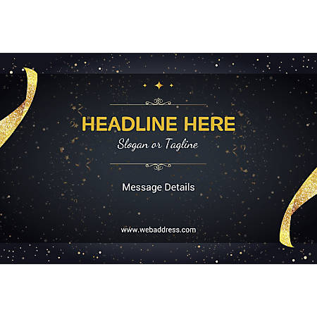Custom Poster, Gold Ribbons and Sparkles, Horizontal