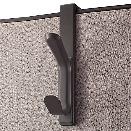 "Office Depot® Brand Cubicle Coat Hook, 1 3/10""H x 4 7/10""W x 7 7/8""D, Charcoal"