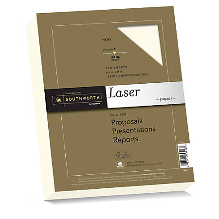 """Southworth® 25% Cotton Laser Paper, 8 1/2"""" x 11"""", FSC® Certified, 55% Recycled, 32 Lb, Ivory, Box Of 300"""