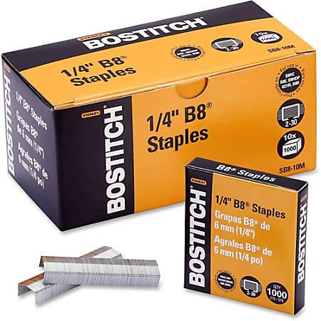 "Bostitch PowerCrown Premium Staples - 210 Per Strip - 1/4"" Leg - 1/2"" Crown - Chisel Point - Silver - High Carbon Steel - 10000 / Box"