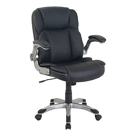 Lorell® SOHO Flip Armrest Mid-Back Leather Chair, Black/Silver