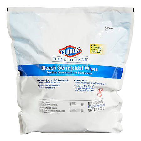 Clorox Healthcare Bleach Germicidal Wipes Refill - Ready-To-Use Wipe - 110 - 1 Each - White