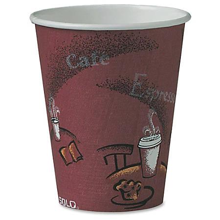 Solo Bistro Design Hot Drink Cups, Paper, 8 oz., Maroon, 20 Bags of 50/Carton