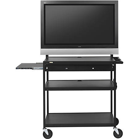 "Bretford Basics Flat-Panel Cart, 66""H x 37""W x 27""D, Black"
