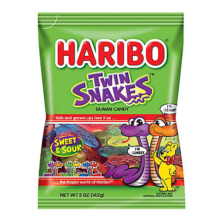 Haribo Twin Snakes, 5 Oz, Pack Of 12