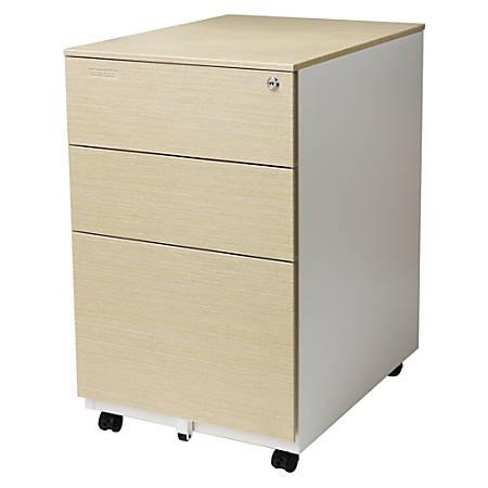 "Aurora SOHO 24""D 3-Drawer Metal Mobile Vertical File Cabinet, White/Light Wenge"