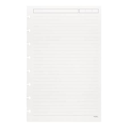 """TUL™ Custom Note-Taking System Discbound Refill Pages, 5 1/2"""" x 8 1/2"""", Junior Size, Narrow Ruled, 100 Pages (50 Sheets), White"""