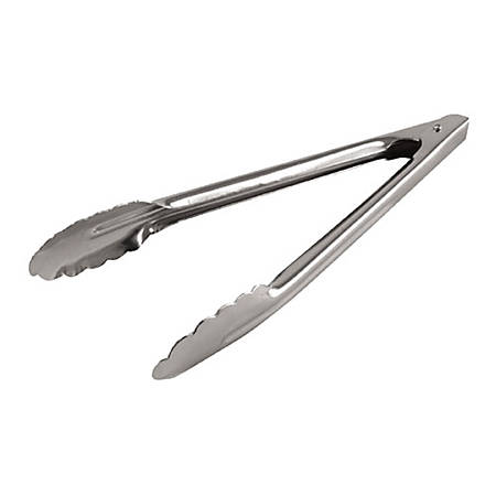 "Admiral Craft Stainless-Steel Hinged Spring Tongs, 12"", Silver"