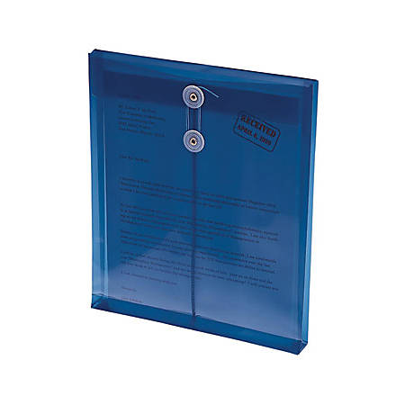 """Smead® Poly Envelopes With String-Tie Closure, 1 1/4"""" Expansion, Letter Size, Blue, Pack Of 5 Envelopes"""
