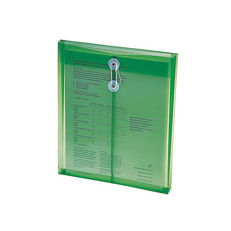 """Smead® Poly Envelopes With String-Tie Closure, 1 1/4"""" Expansion, Letter Size, Green, Pack Of 5 Envelopes"""