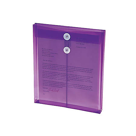 "Smead® Poly Envelopes With String-Tie Closure, 1 1/4"" Expansion, Letter Size, 8 1/2"" x 11"", Purple, Pack Of 5 Envelopes"