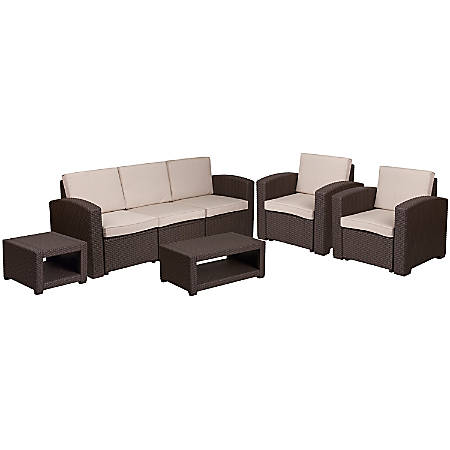 Pleasing Flash Furniture 5 Piece Outdoor Faux Rattan Sofa Chair And Table Set Chocolate Brown Item 7655961 Beatyapartments Chair Design Images Beatyapartmentscom