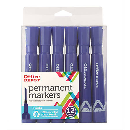 Office Depot® Brand Permanent Markers, Chisel Point, 100% Recycled, Blue Ink, Pack Of 12