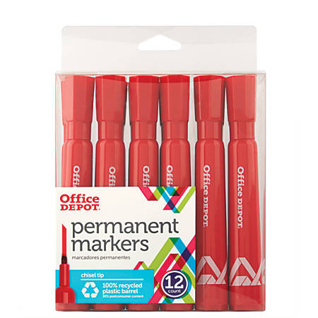 Office Depot® Brand Permanent Markers, Chisel Point, 100% Recycled, Red Ink, Pack Of 12