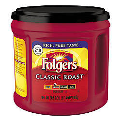Folgers Classic Roast Coffee 30.5 Oz Can - Office Depot
