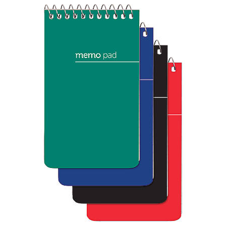 """Office Depot® Brand Wirebound Top-Opening Memo Books, 3"""" x 5"""", 1 Hole-Punched, College Ruled, 60 Sheets, Assorted Colors (No Color Choice), Pack Of 12"""