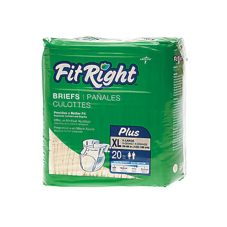 "FitRight Plus Disposable Briefs, X-Large, 59 - 66"", Yellow, 20 Briefs Per Bag, Case Of 4 Bags"