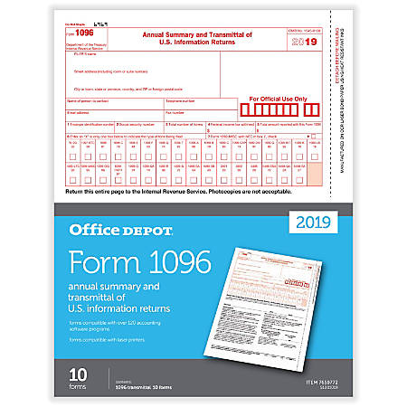 Office Depot® Brand 1096 Laser Tax Forms, Pack Of 10 Forms