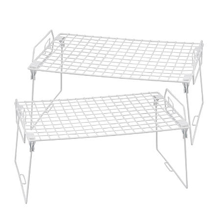 "Honey-Can-Do Lock And Link Kitchen Organizer Racks, 8""H x 15 3/4""W x 9 3/4""D, White, Set Of 2"