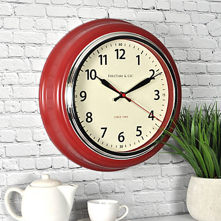 "FirsTime® Kitchen Round Wall Clock, 12 1/2"", Red/White"