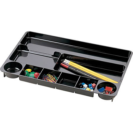 """Officemate Drawer Organizer Tray, 9 Compartments, 1 1/8""""H x 14""""W x 9""""D, Black"""