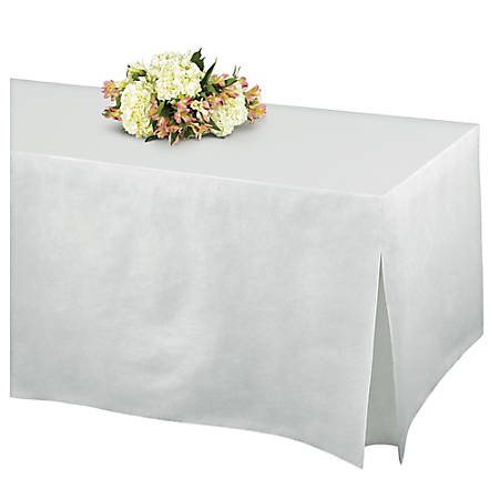 """Amscan Flannel-Backed Vinyl Fitted Table Cover, 27""""H x 31""""W x 72""""D, Frosty White"""