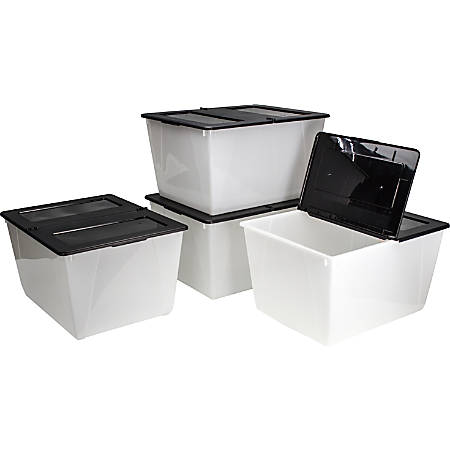 """Storex Storage Totes With Folding Lids, 16 Gallons, 22-3/4"""" x 18-1/4"""" x 12-7/8"""", Frost/Black, Pack Of 4 Totes"""