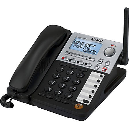 AT&T SynJ SB67148 DECT 6.0 Cordless Phone - Black, Silver - 4 x Phone Line - Speakerphone - Answering Machine - Hearing Aid Compatible - Backlight